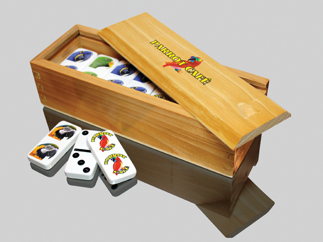 Custom Imprinted Dominoes in a Personalized Wood Box