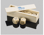 5 Wooden Dice in a Box
