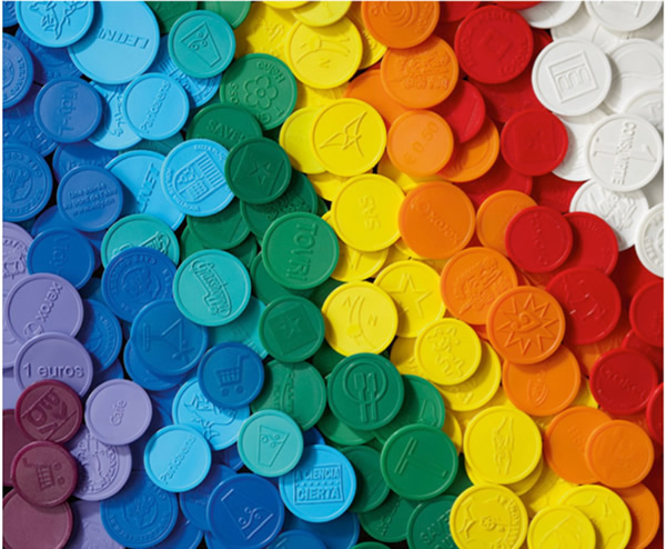 Round Plastic Tokens Molded Embossed