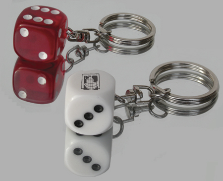 Custom Printed Plastic Dice Key Rings